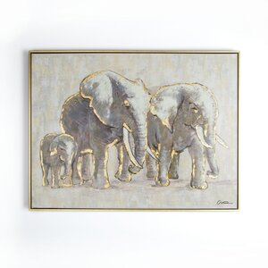 'Metallic Elephant Family' Framed Graphic Art Print on Canvas by Ivy Bronx