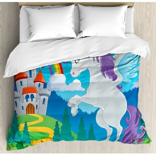 Attractive Kids Decor King Size Duvet Cover Set, Fantasy Myth Unicorn With Rainbow And  Medieval Castle Fairy Tale Cartoon Design, Decorative 3 Piece Bedding Set  With 2 ...
