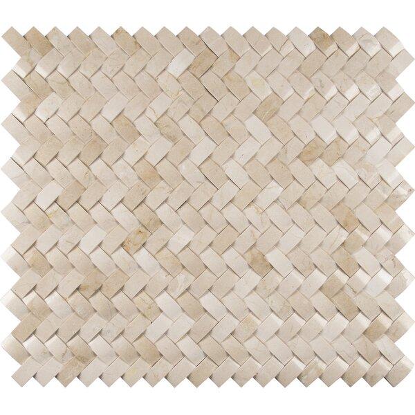Crema Herringbone Arched 1 x 3 Marble Mosaic Tile in Beige by MSI