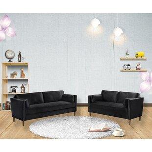 2P+3P Living Room Black Sofa by Rosdorf Park