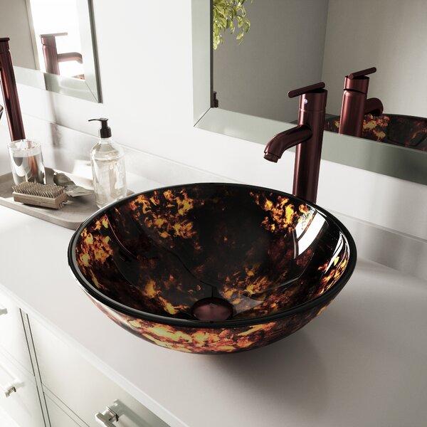 Fusion Glass Circular Vessel Bathroom Sink by VIGO
