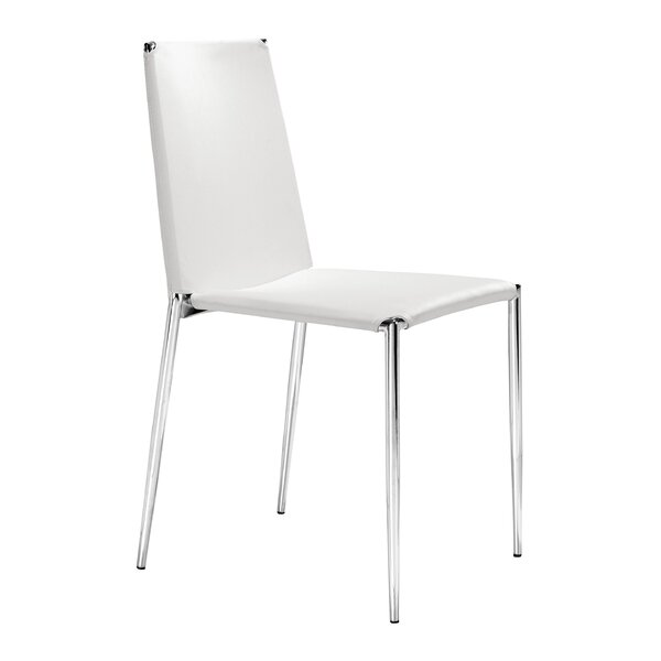 Dartmouth Dining Chair with Leatherette Seat (Set of 4) by Ebern Designs