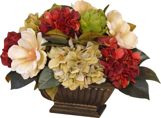 Hydrangea and Magnolia Centerpiece with Artichokes by Floral Home Decor