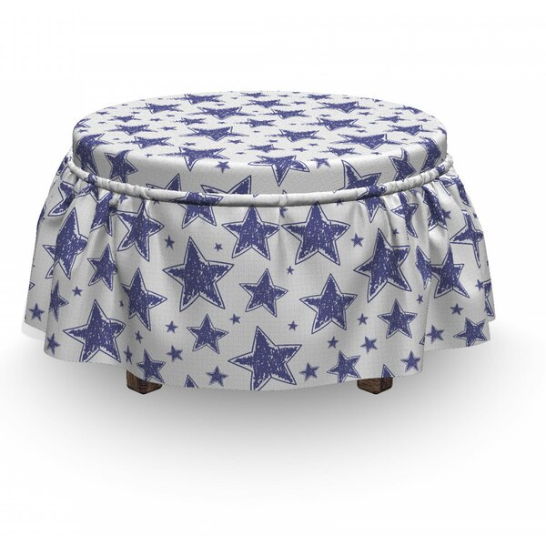 Hand Drawn Doodle Motifs Ottoman Slipcover (Set Of 2) By East Urban Home
