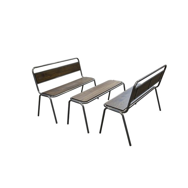 Ald Metal/Wood Bench by 17 Stories
