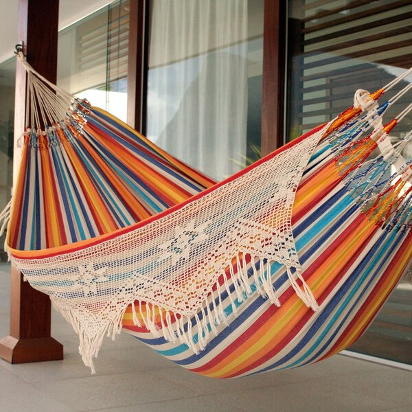 Demi-Lee Double Person Portable Festive Striped Hand-Woven Brazilian Cotton with Crocheted Florid Draping Indoor/Outdoor Hammock by World Menagerie