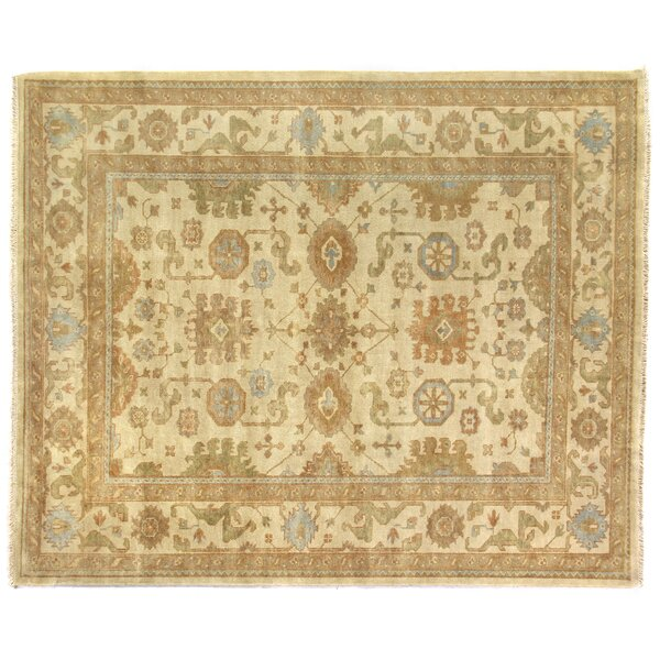 Oushak Hand-Knotted Wool Light Gold/Silver Area Rug by Exquisite Rugs