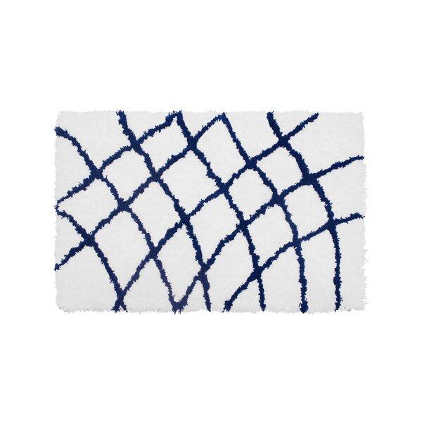 Diamond Chunky Shag Indigo/White Area Rug by Vista Living