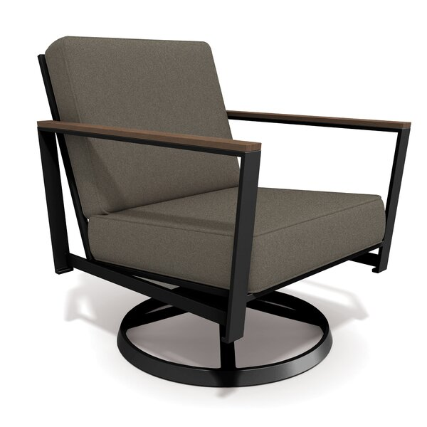 Echo Textured Pewter Swivel Patio Chair with Sunbrella Cushions by Winston
