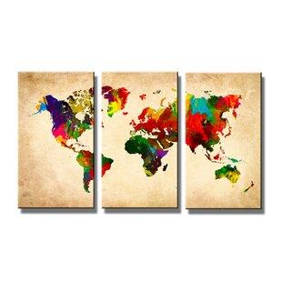 Maps canvas wall art wayfair world map multipiece image graphic art print on canvas gumiabroncs Gallery