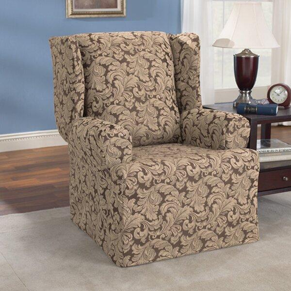 Compare Price Scroll Classic T-Cushion Wingback Slipcover