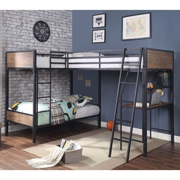 Jarosz Twin over Twin over Twin L-Shaped Triple Bunk Bed by Harriet Bee