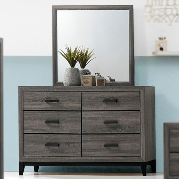 Aesthetic 6 Drawer Double Dresser with Mirror by Union Rustic