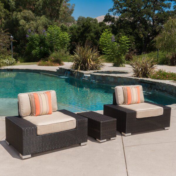 Lower Failand Outdoor 3 Piece Wicker Club Chair and Table Set by Orren Ellis