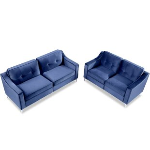 2 Pieces Tufted Velvet Upholstered Loveseat & Couch Sofa Track Arm Classic Mid-Century Modern Sofa Set With Chromed Metal Legs (Set of 5) by Mercer41