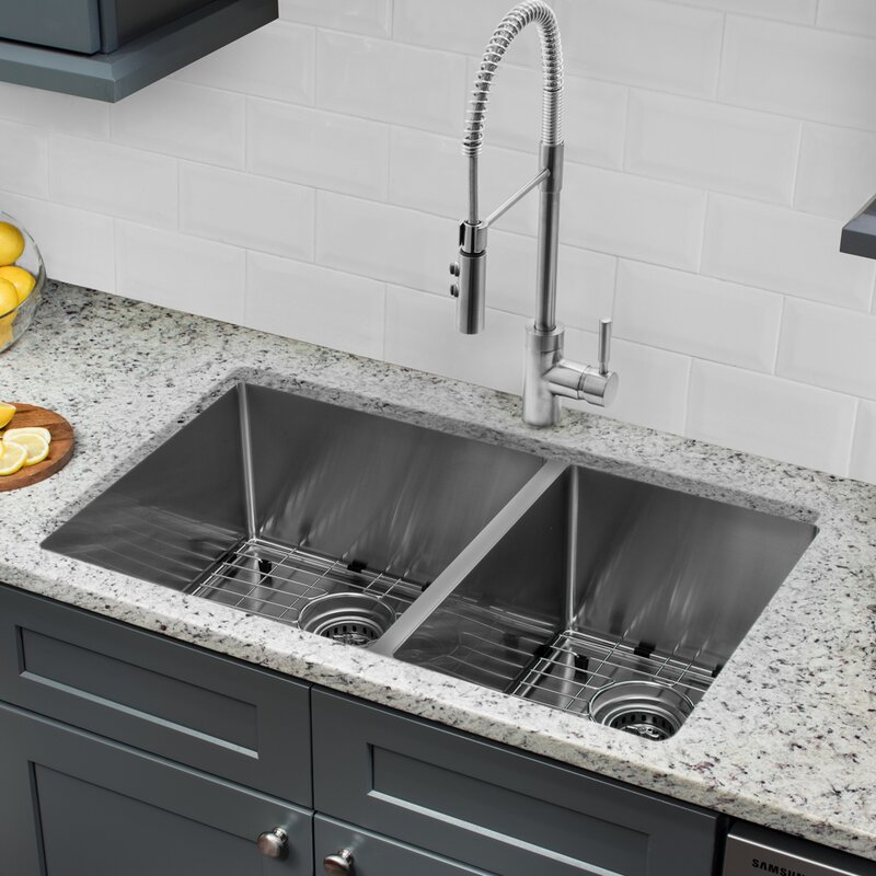 Soleil Radius 16 Gauge Stainless Steel 32'' x 19'' 60/40 Double Bowl on 24 double bowl undermount sink, low divide sink, double bowl apron front sink, offset kitchen sink, blanco 40 60 sink, best 16-gauge kitchen sink, double kitchen sink, extra large kitchen sink, small round prep sink, 60 40 integrated kitchen sink, 60 40 stainless sink, elkay undermount sink, stainless steel deep sink, large stainless sink, laminate undermount sink, 24 kitchen sink, upc sink, mosaic tile sink, triple bowl kitchen sink,