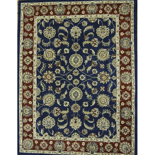 Bovill Agra Oriental Hand-Tufted Wool Navy/Beige Area Rug by Canora Grey
