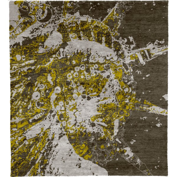 One-of-a-Kind Orval Hand-Knotted Traditional Style Gray/Yellow/White 10' x 14' Wool Area Rug