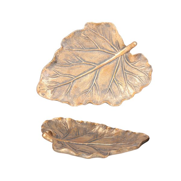 Aged Leaf Tray by Wildon Home ®