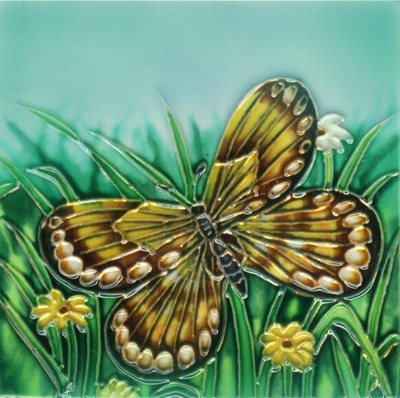 Yellow Butterfly with Green Tile Wall Decor by Continental Art Center