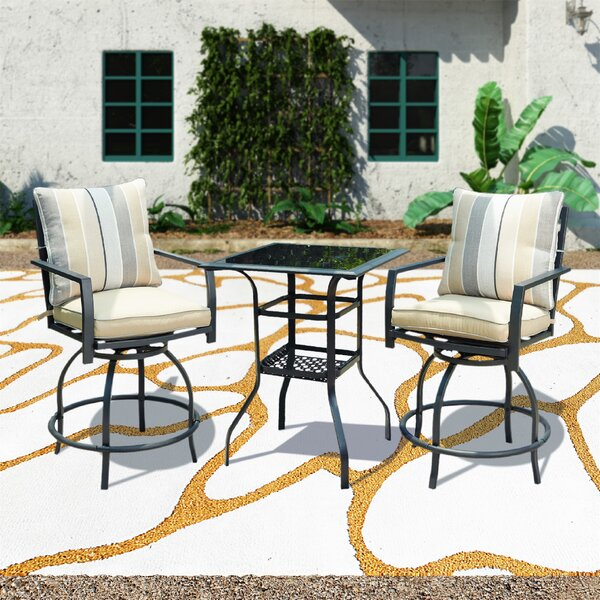 California 3 Piece Bar Height Dining Set with Cushions