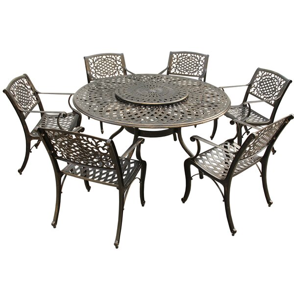 Cassano Ornate Mesh Lattice 7 Piece Dining Set by Fleur De Lis Living