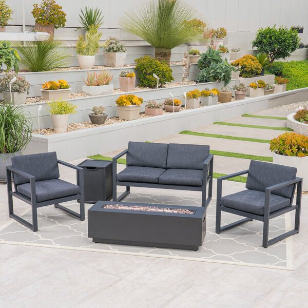 Lundell Outdoor 5 Piece Sofa Seating Group with Cushions by Ivy Bronx