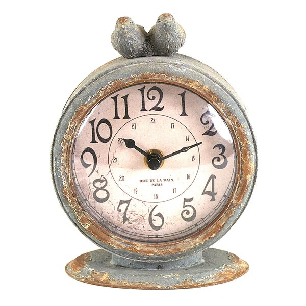 Traditional Pewter Mantel Clock by Lark Manor