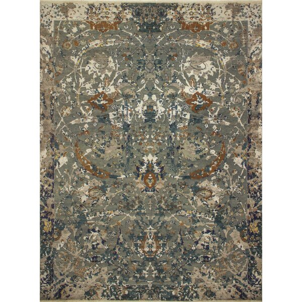 One-of-a-Kind Antionette Hand-Knotted Rectangle Wool Blue Area Rug by Isabelline