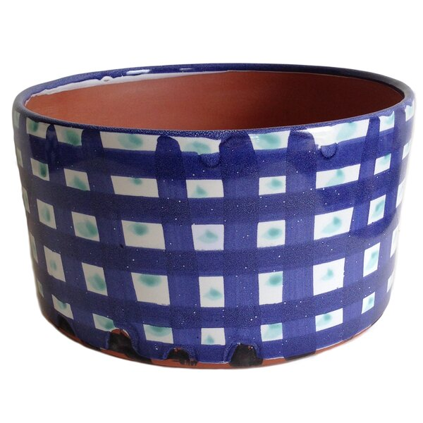 Annaelle Gingham Glazed Cylinder Clay Pot Planter by Gracie Oaks
