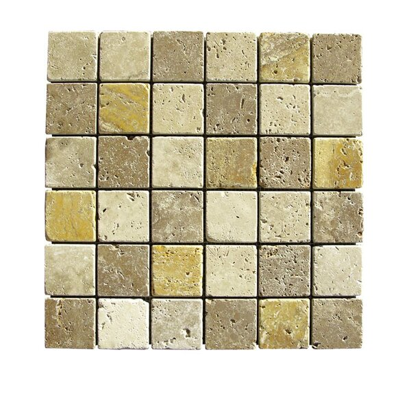 Tumbled 2 x 2 Natural Stone Mosaic Tile in Gold/Noce by QDI Surfaces