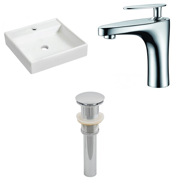 Ceramic 17.5 Wall Mount Bathroom Sink with Faucet by Royal Purple Bath Kitchen