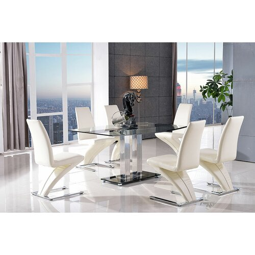 Biddulph Steel and Glass Dining Set with 4 Chairs Metro Lane