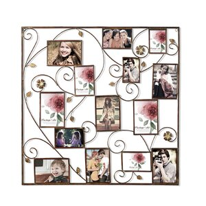 kirsty 14 opening decorative bronze color iron photo collage wall hanging picture frame - Wrought Iron Picture Frames