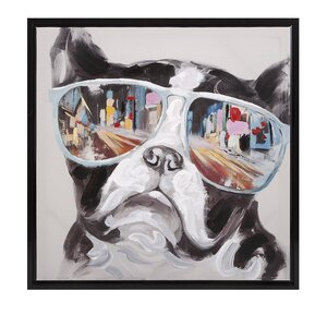 'City Shades Dog' Framed Graphic Art on Canvas by Mercury Row