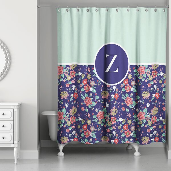 Crossman Monogram Floral Shower Curtain by August Grove