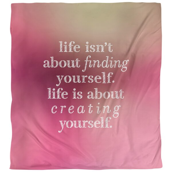 Quotes Creating Yourself Single Reversible Duvet Cover