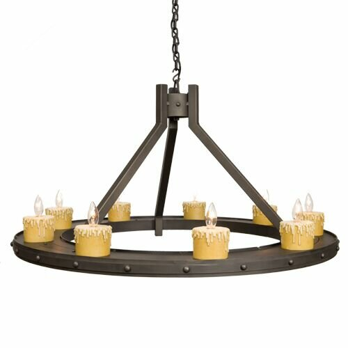 Rivets 9-Light Candle Style Wagon Wheel Chandelier by Steel Partners Steel Partners