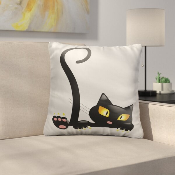 Bouley Black Cat Throw Pillow by East Urban Home