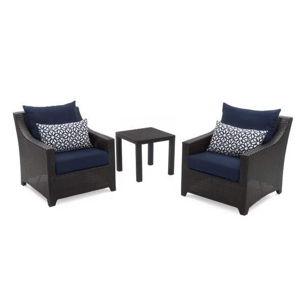 Northridge 3 Piece Rattan Sunbrella Seating Group with Cushions by Three Posts Three Posts