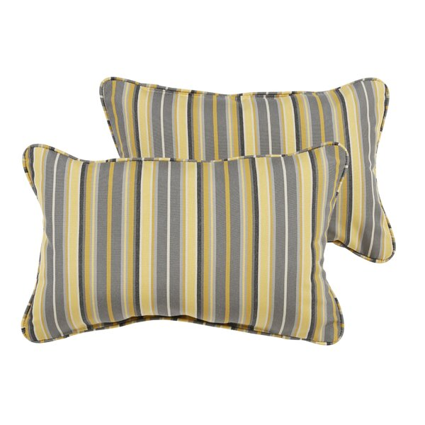 Delacruz Sunbrella Piped Lumbar Pillow Set by Darby Home Co