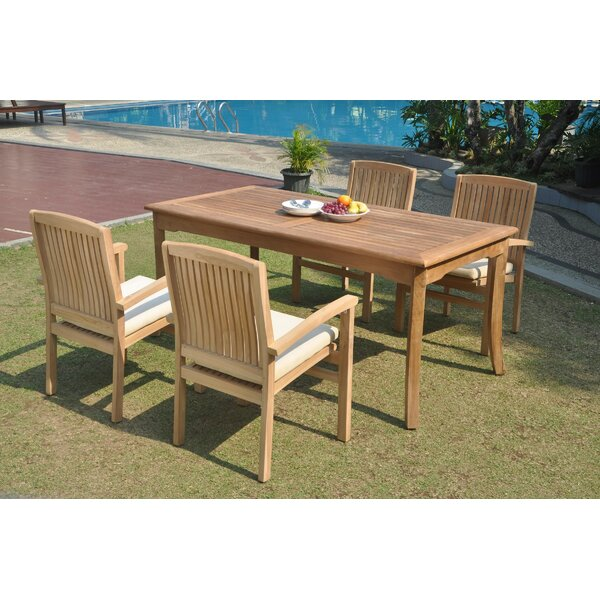 Ozbourn 5 Piece Teak Dining Set by Rosecliff Heights