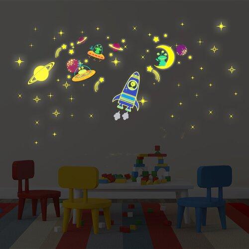 Wandtattoo Galaxy  Mond und Sterne leuchten Roomie Kidz   Dekoration > Wandtattoos > Wandtattoos   Roomie Kidz