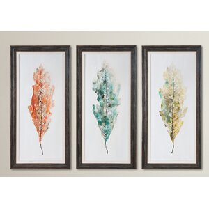 Tricolor Leaves Abstract Art 3 Piece Framed Painting Set by Brayden Studio