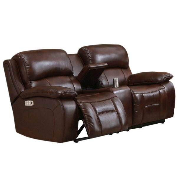 New Look Style Kostka Leather Reclining Loveseat by Red Barrel Studio by Red Barrel Studio