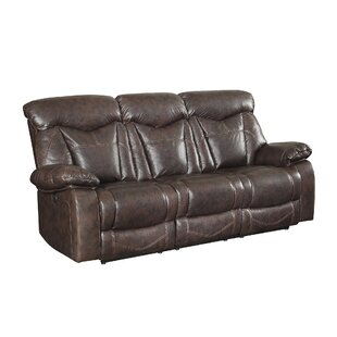Bonenfant Leather Reclining Sofa Red Barrel Studio