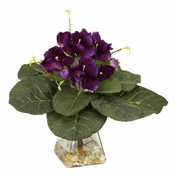 Gloxinia Desk Top Plant in  Decorative Vase by Nearly Natural
