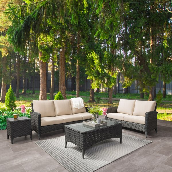 Kandice Wide 4 Piece Rattan Sofa Seating Group with Cushions by Highland Dunes