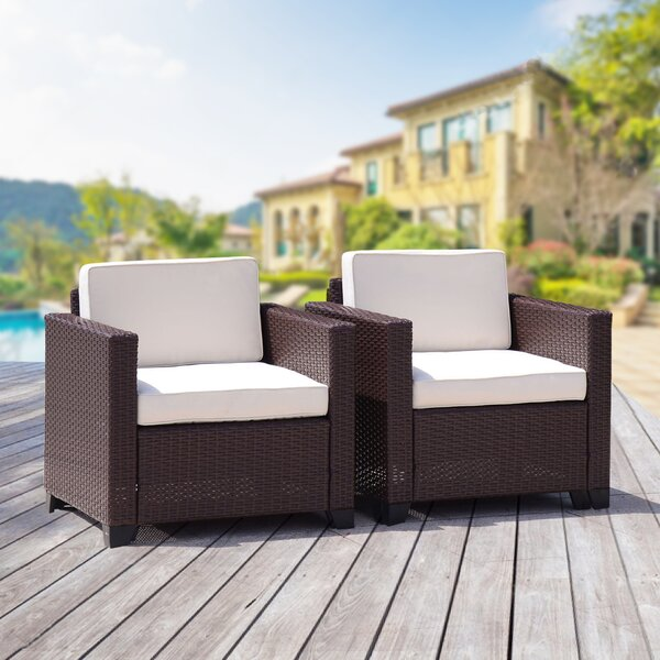 Hazel Rattan Patio Chairs with Cushions (Set of 2) by Ebern Designs