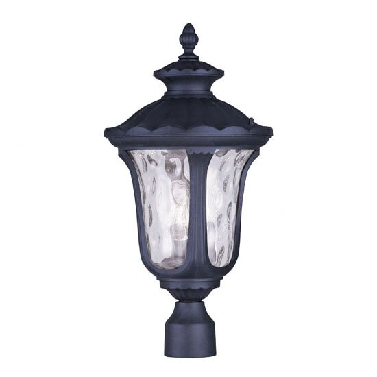 Gunnell Traditional Clear Water Glass Outdoor Post Lantern by Three Posts